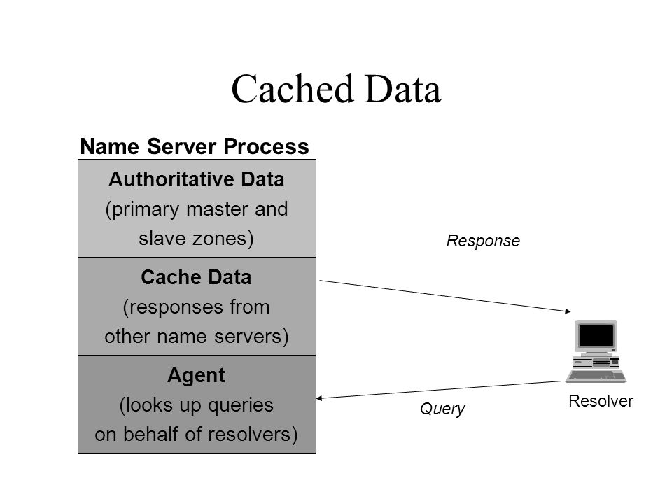 Cached Data Query Response Authoritative Data (primary master and slave zones) Agent (looks up queries on behalf of resolvers) Cache Data (responses from other name servers) Name Server Process Resolver
