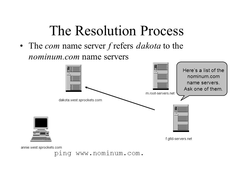 The Resolution Process The com name server f refers dakota to the nominum.com name servers ping www.nominum.com.