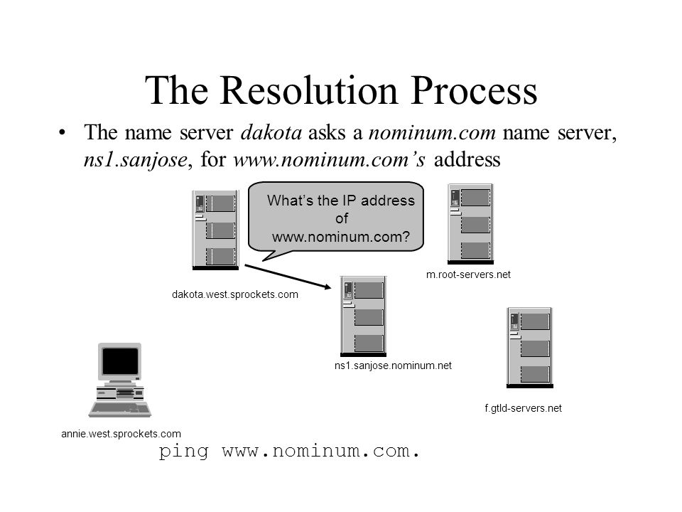 The Resolution Process The name server dakota asks a nominum.com name server, ns1.sanjose, for www.nominum.com's address ping www.nominum.com.