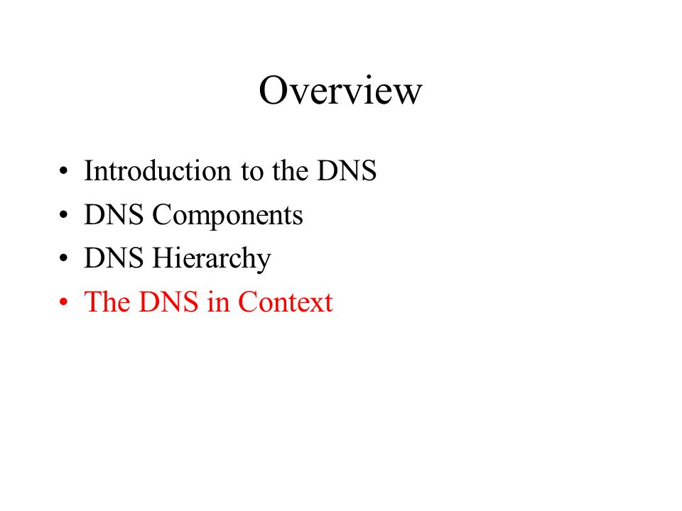 Overview Introduction to the DNS DNS Components DNS Hierarchy The DNS in Context