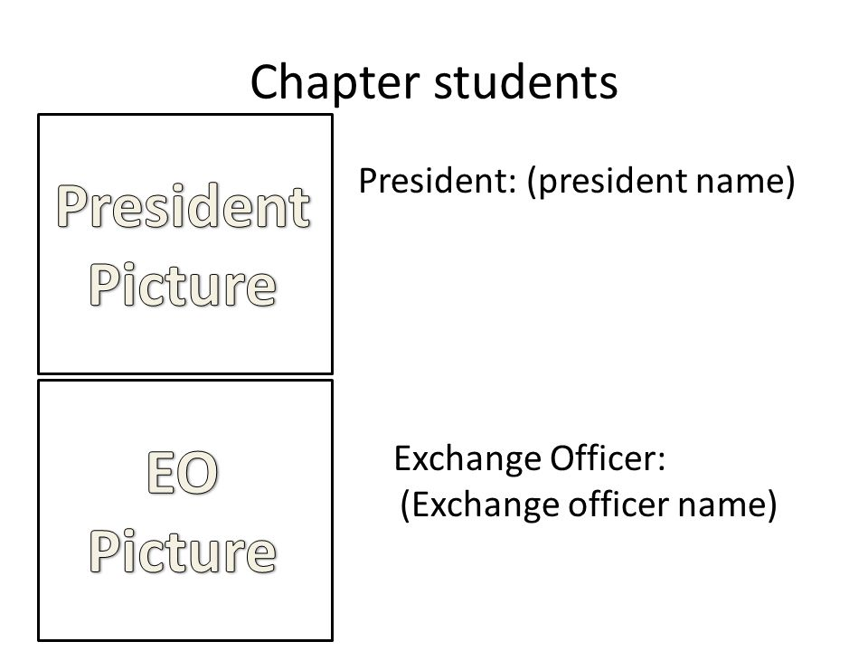 Chapter students President: (president name) Exchange Officer: (Exchange officer name)