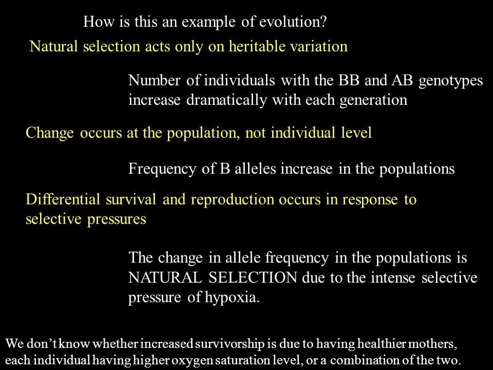 Four main claims of evolution indroduced at the beginning Differential survival and reproduction occurs in response to selective pressures or is change guided by a dinivne hand.