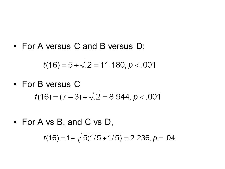 For A versus C and B versus D: For B versus C For A vs B, and C vs D,