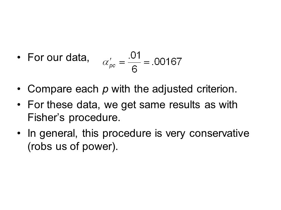 For our data, Compare each p with the adjusted criterion.