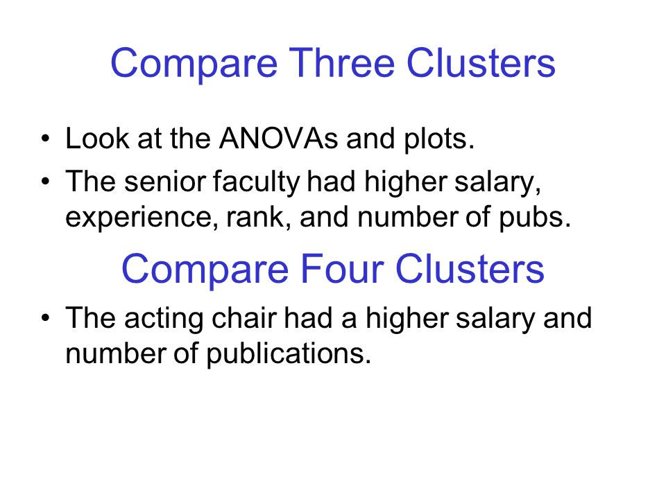 Compare Three Clusters Look at the ANOVAs and plots.