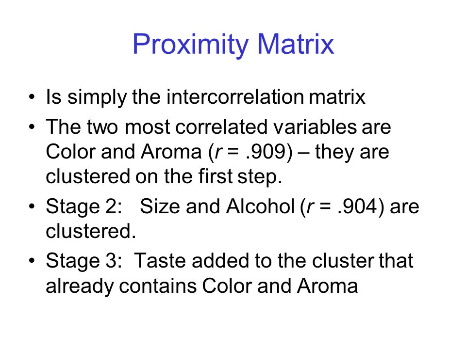 Proximity Matrix Is simply the intercorrelation matrix The two most correlated variables are Color and Aroma (r =.909) – they are clustered on the first step.