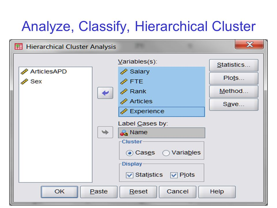 Analyze, Classify, Hierarchical Cluster