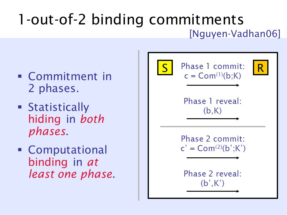 1-out-of-2 binding commitments  Commitment in 2 phases.