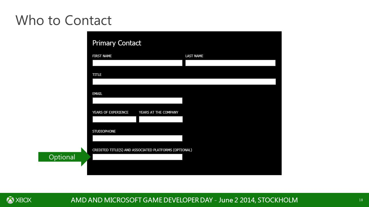 AMD AND MICROSOFT GAME DEVELOPER DAY - June 2 2014, STOCKHOLM 18 Who to Contact