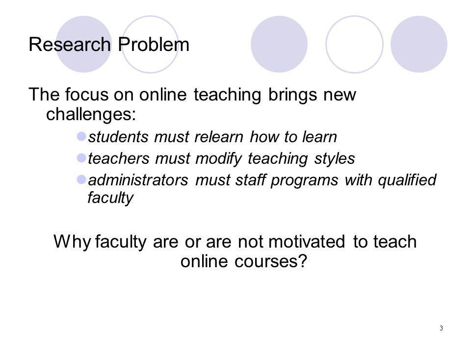 3 Research Problem The focus on online teaching brings new challenges: students must relearn how to learn teachers must modify teaching styles administrators must staff programs with qualified faculty Why faculty are or are not motivated to teach online courses