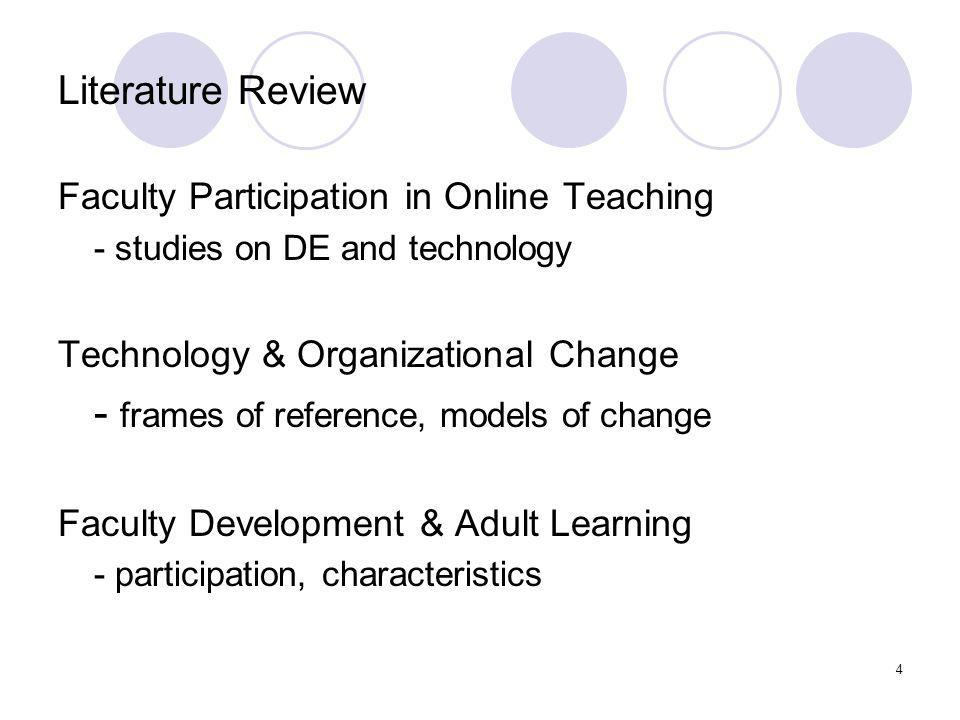 4 Literature Review Faculty Participation in Online Teaching - studies on DE and technology Technology & Organizational Change - frames of reference, models of change Faculty Development & Adult Learning - participation, characteristics