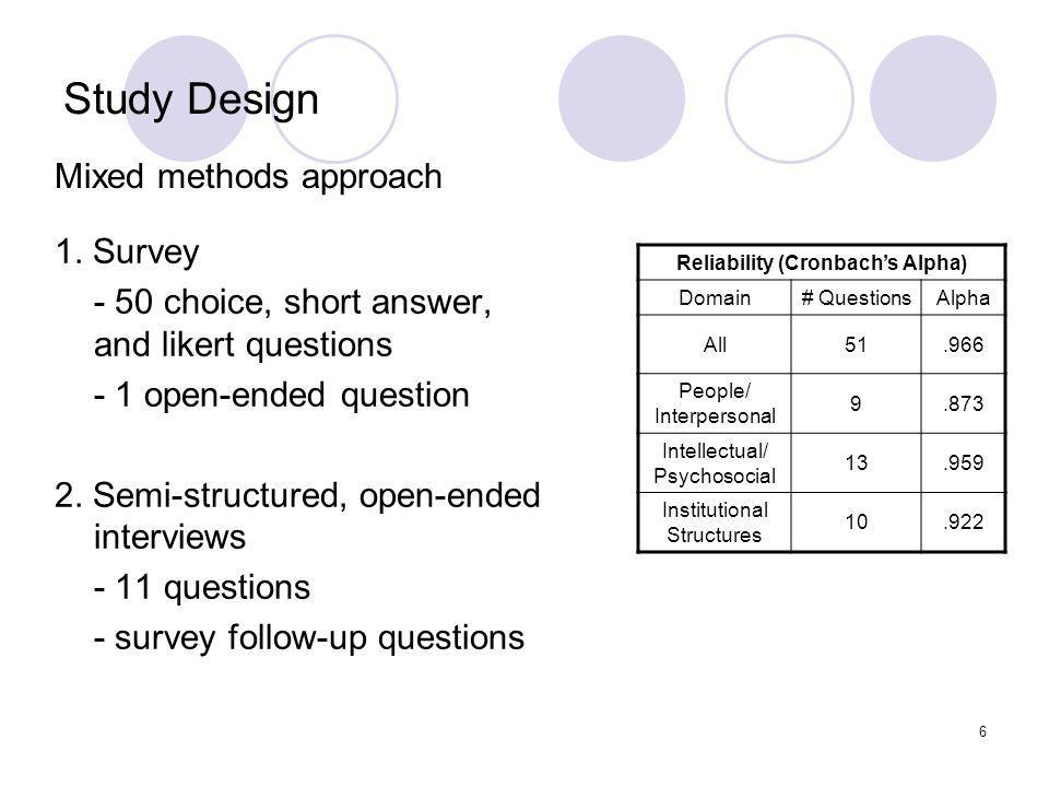 6 Study Design 1. Survey - 50 choice, short answer, and likert questions - 1 open-ended question 2.