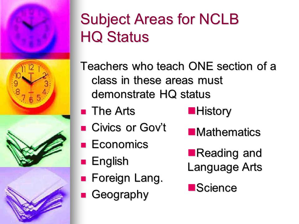 Subject Areas for NCLB HQ Status Teachers who teach ONE section of a class in these areas must demonstrate HQ status The Arts The Arts Civics or Gov't Civics or Gov't Economics Economics English English Foreign Lang.