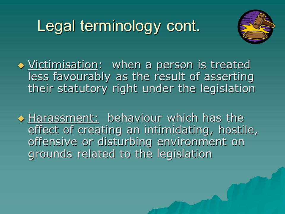 Legal terminology cont.