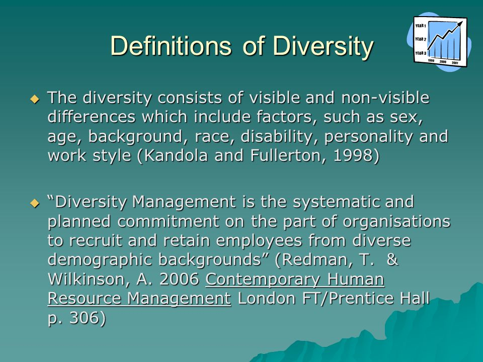 Definitions of Diversity  The diversity consists of visible and non-visible differences which include factors, such as sex, age, background, race, disability, personality and work style (Kandola and Fullerton, 1998)  Diversity Management is the systematic and planned commitment on the part of organisations to recruit and retain employees from diverse demographic backgrounds (Redman, T.