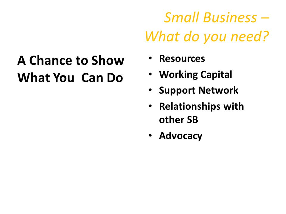 Small Business – What do you need.