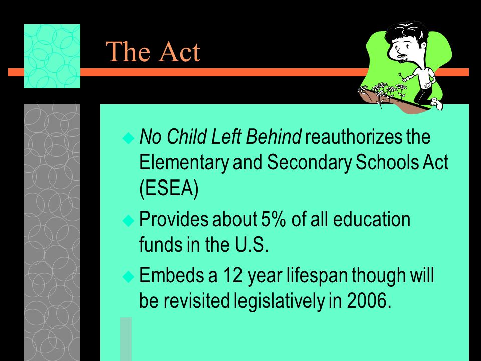 The Act  No Child Left Behind reauthorizes the Elementary and Secondary Schools Act (ESEA)  Provides about 5% of all education funds in the U.S.