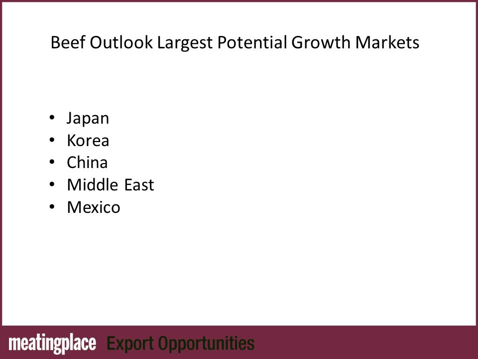 Beef Outlook Largest Potential Growth Markets Japan Korea China Middle East Mexico