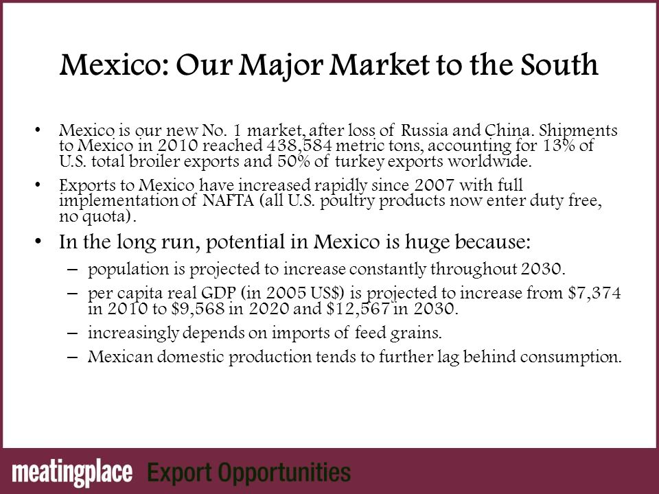 Mexico: Our Major Market to the South Mexico is our new No.