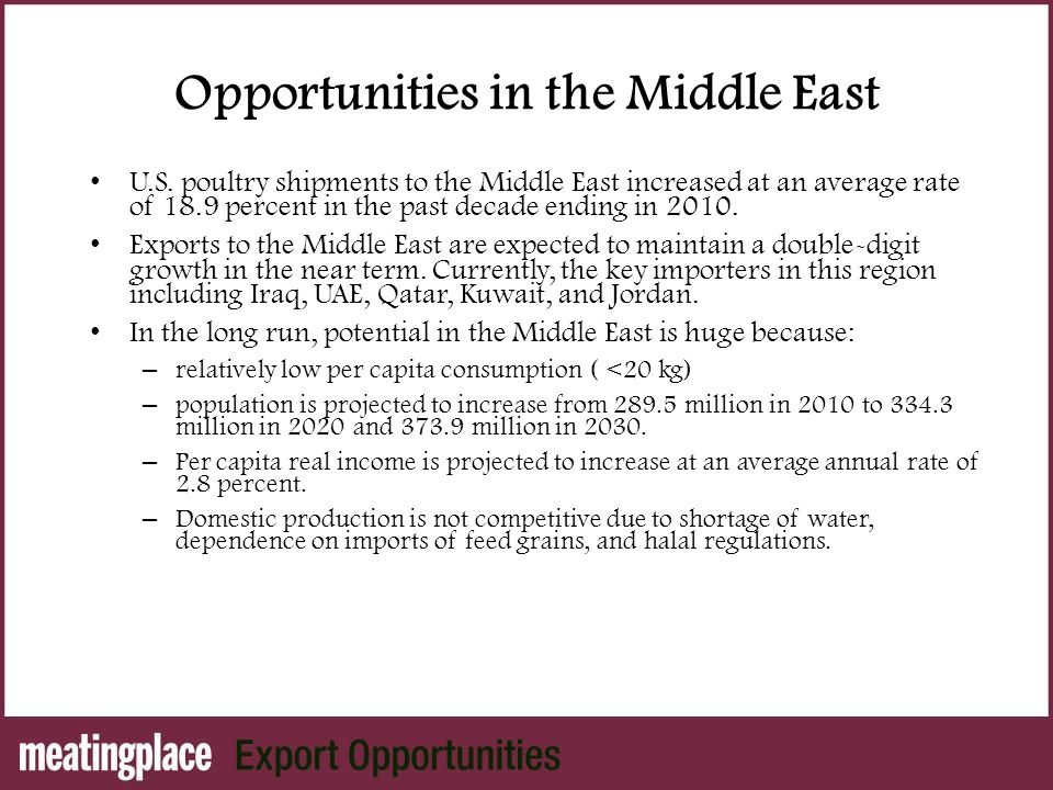 Opportunities in the Middle East U.S.