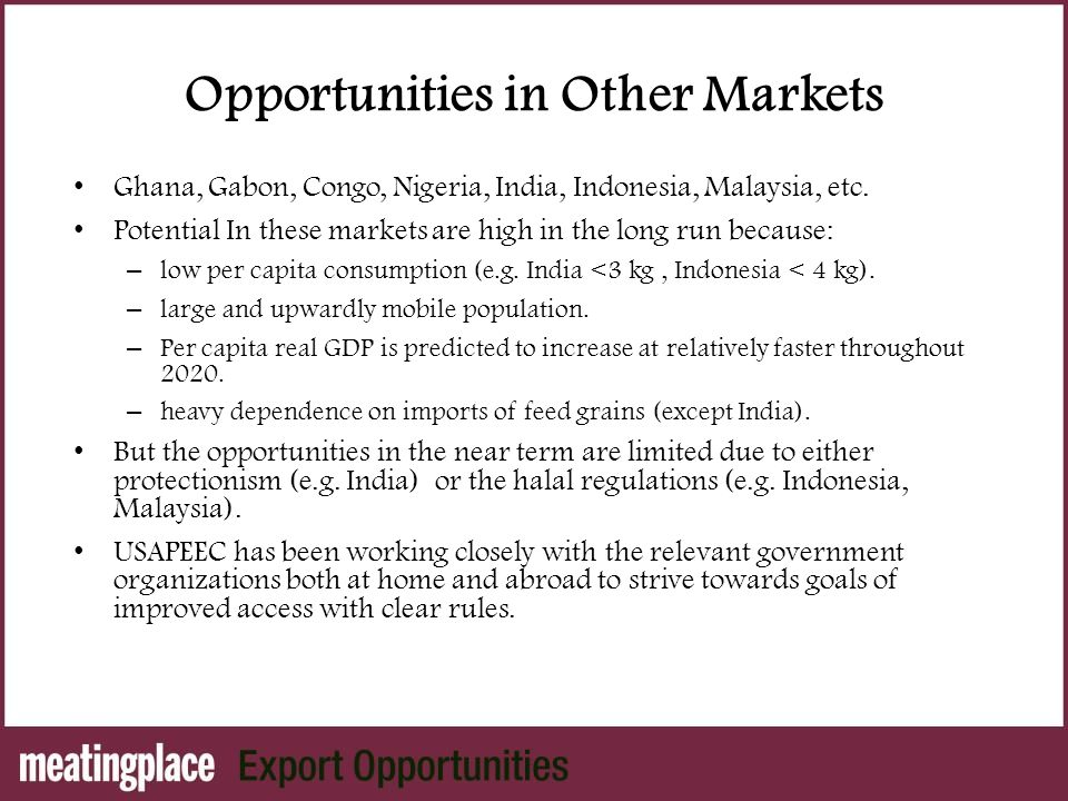 Opportunities in Other Markets Ghana, Gabon, Congo, Nigeria, India, Indonesia, Malaysia, etc.