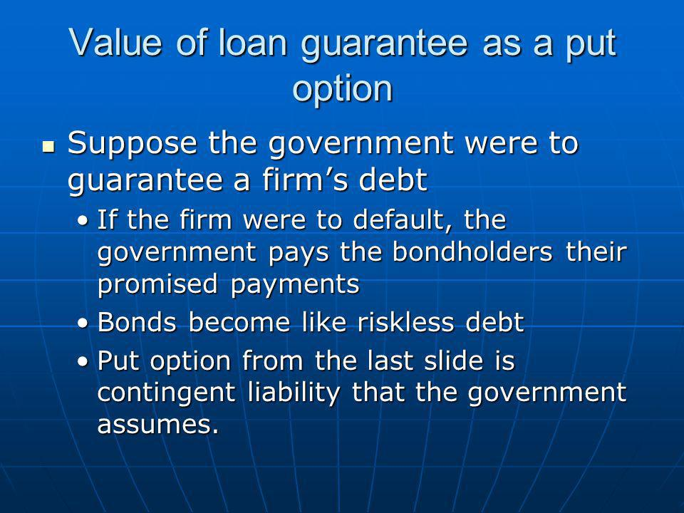 Value of loan guarantee as a put option Suppose the government were to guarantee a firm's debt Suppose the government were to guarantee a firm's debt If the firm were to default, the government pays the bondholders their promised paymentsIf the firm were to default, the government pays the bondholders their promised payments Bonds become like riskless debtBonds become like riskless debt Put option from the last slide is contingent liability that the government assumes.Put option from the last slide is contingent liability that the government assumes.