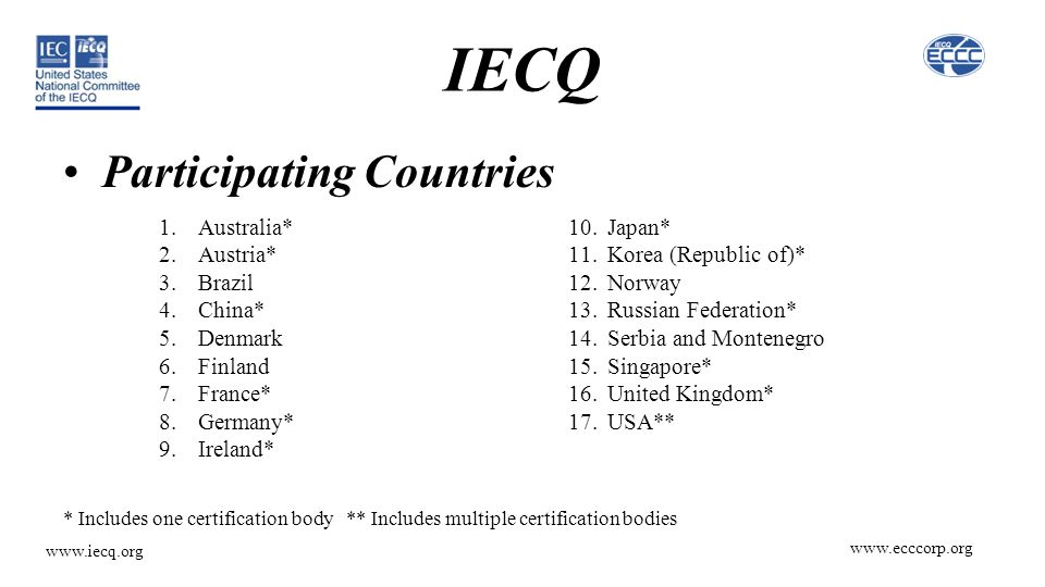 www.ecccorp.org www.iecq.org IECQ Participating Countries 10.Japan* 11.Korea (Republic of)* 12.Norway 13.Russian Federation* 14.Serbia and Montenegro 15.Singapore* 16.United Kingdom* 17.USA** 1.Australia* 2.Austria* 3.Brazil 4.China* 5.Denmark 6.Finland 7.France* 8.Germany* 9.Ireland* * Includes one certification body ** Includes multiple certification bodies