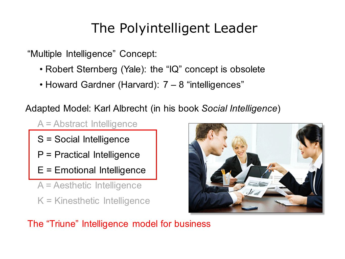 The Polyintelligent Leader Multiple Intelligence Concept: Robert Sternberg (Yale): the IQ concept is obsolete Howard Gardner (Harvard): 7 – 8 intelligences Adapted Model: Karl Albrecht (in his book Social Intelligence) A = Abstract Intelligence S = Social Intelligence P = Practical Intelligence E = Emotional Intelligence A = Aesthetic Intelligence K = Kinesthetic Intelligence The Triune Intelligence model for business
