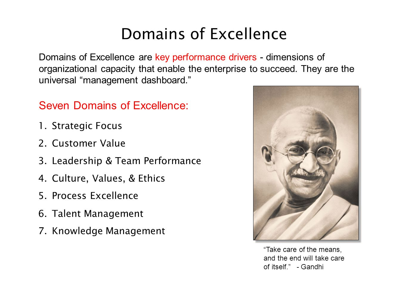 Domains of Excellence Domains of Excellence are key performance drivers - dimensions of organizational capacity that enable the enterprise to succeed.