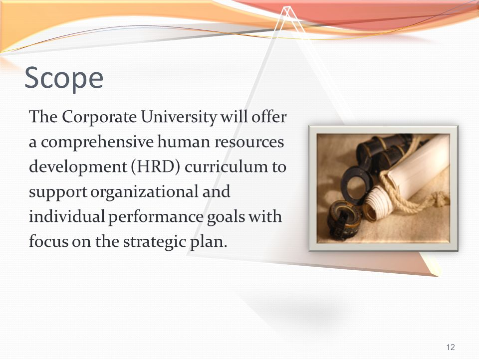 12 Scope The Corporate University will offer a comprehensive human resources development (HRD) curriculum to support organizational and individual performance goals with focus on the strategic plan.