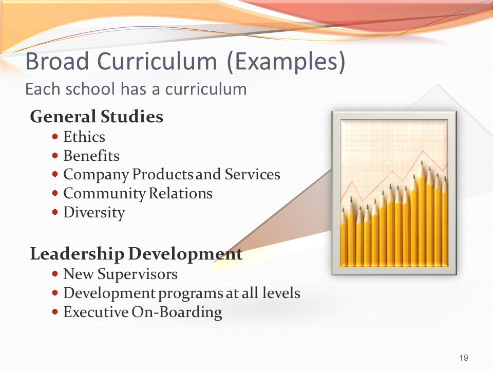 19 Broad Curriculum (Examples) Each school has a curriculum General Studies Ethics Benefits Company Products and Services Community Relations Diversity Leadership Development New Supervisors Development programs at all levels Executive On-Boarding