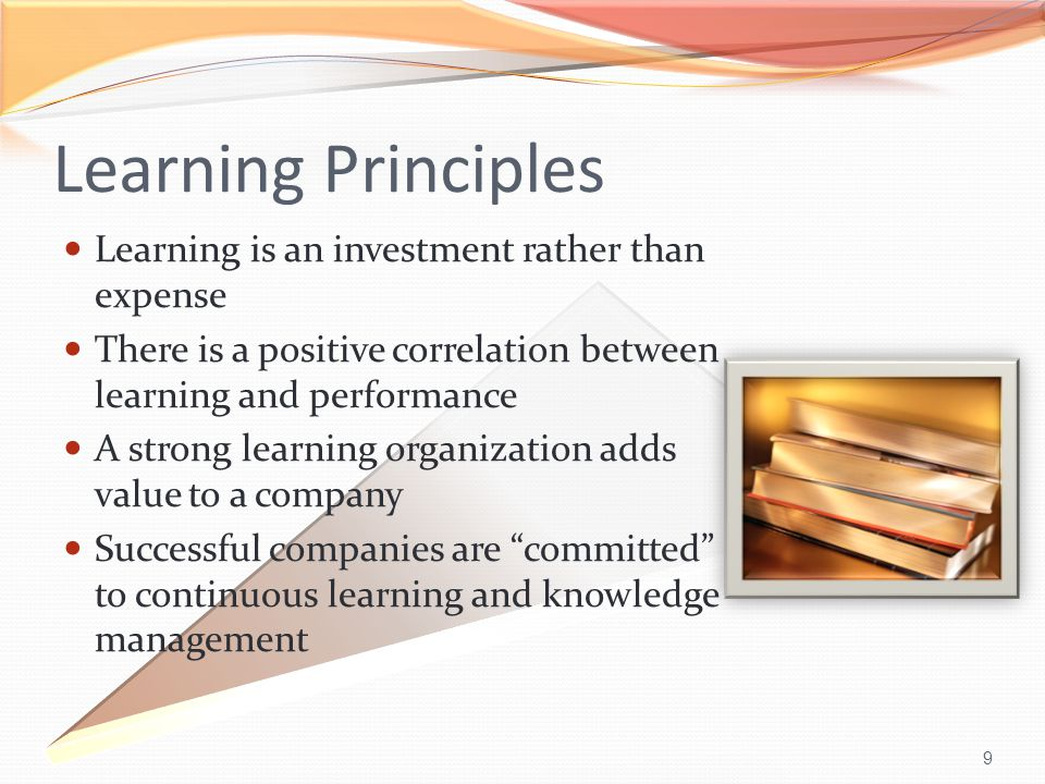 9 Learning Principles Learning is an investment rather than expense There is a positive correlation between learning and performance A strong learning organization adds value to a company Successful companies are committed to continuous learning and knowledge management