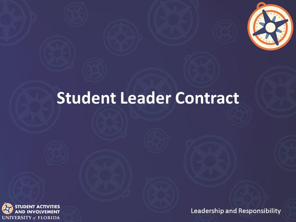 Student Leader Contract Leadership and Responsibility