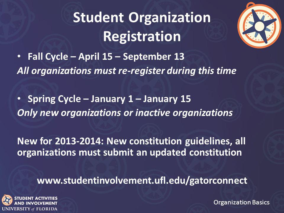 Student Organization Registration Organization Basics Fall Cycle – April 15 – September 13 All organizations must re-register during this time Spring Cycle – January 1 – January 15 Only new organizations or inactive organizations New for 2013-2014: New constitution guidelines, all organizations must submit an updated constitution www.studentinvolvement.ufl.edu/gatorconnect