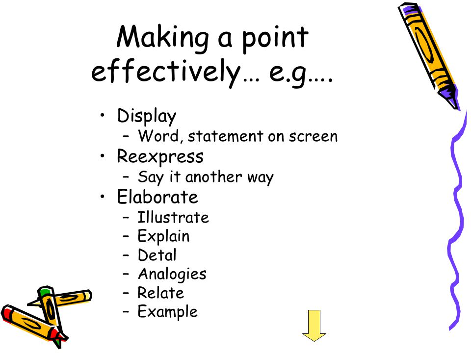 Making a point effectively… e.g….