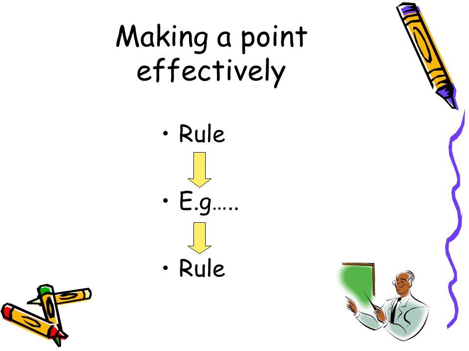 Making a point effectively Rule E.g….. Rule