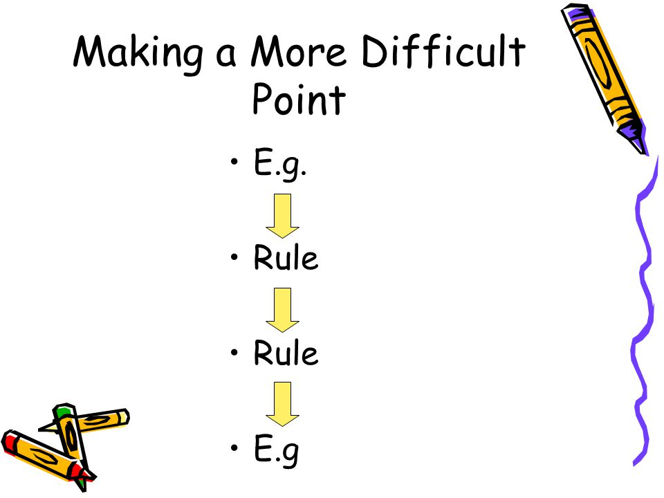 Making a More Difficult Point E.g. Rule E.g