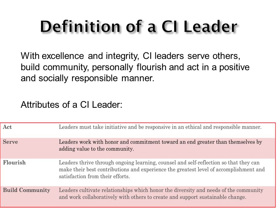 With excellence and integrity, CI leaders serve others, build community, personally flourish and act in a positive and socially responsible manner.