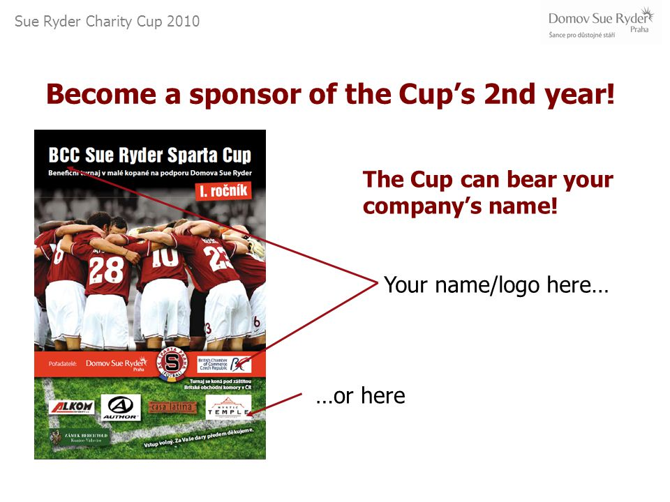 Sue Ryder Charity Cup 2010 Your name/logo here… …or here Become a sponsor of the Cup's 2nd year.