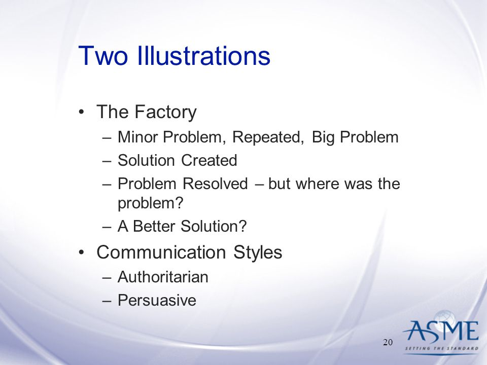 Two Illustrations The Factory –Minor Problem, Repeated, Big Problem –Solution Created –Problem Resolved – but where was the problem.