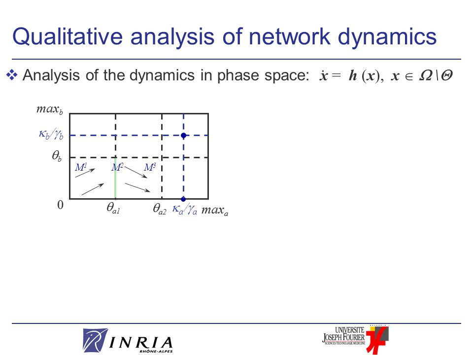 vAnalysis of the dynamics in phase space:  a1 0 max b  a2 bb max a Qualitative analysis of network dynamics  a1 0 max b  a2 bb max a M2M2  a  a  b  b M3M3 M1M1.