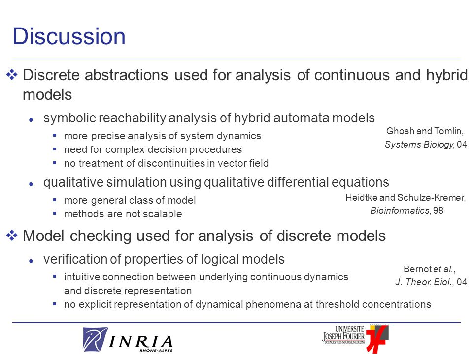 Discussion vDiscrete abstractions used for analysis of continuous and hybrid models l symbolic reachability analysis of hybrid automata models  more precise analysis of system dynamics  need for complex decision procedures  no treatment of discontinuities in vector field l qualitative simulation using qualitative differential equations  more general class of model  methods are not scalable vModel checking used for analysis of discrete models l verification of properties of logical models  intuitive connection between underlying continuous dynamics and discrete representation  no explicit representation of dynamical phenomena at threshold concentrations Ghosh and Tomlin, Systems Biology, 04 Heidtke and Schulze-Kremer, Bioinformatics, 98 Bernot et al., J.