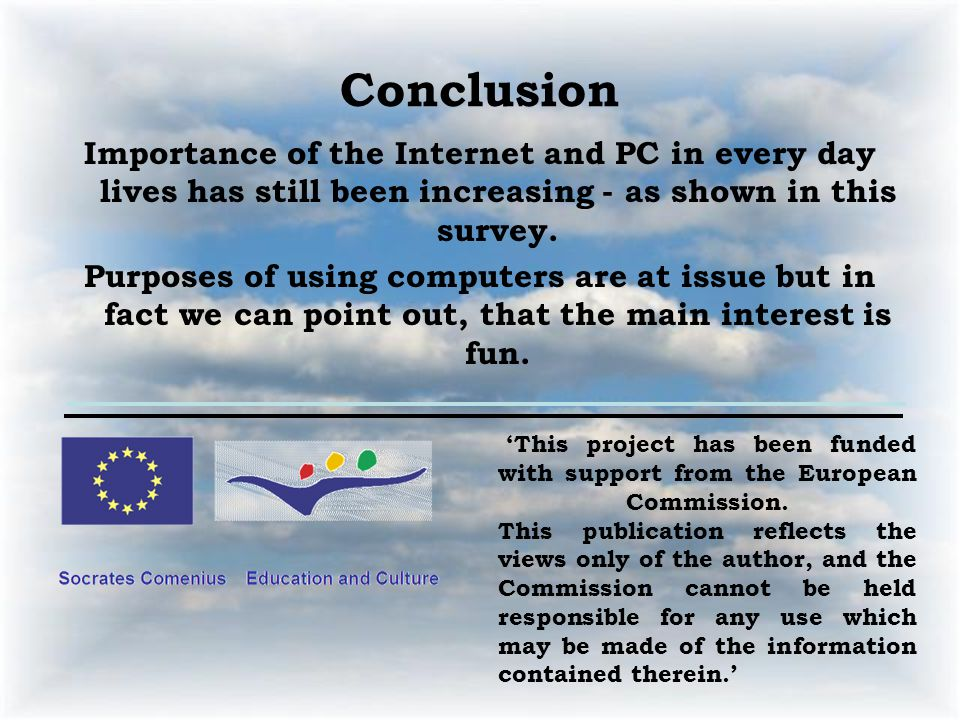 Conclusion Importance of the Internet and PC in every day lives has still been increasing - as shown in this survey.