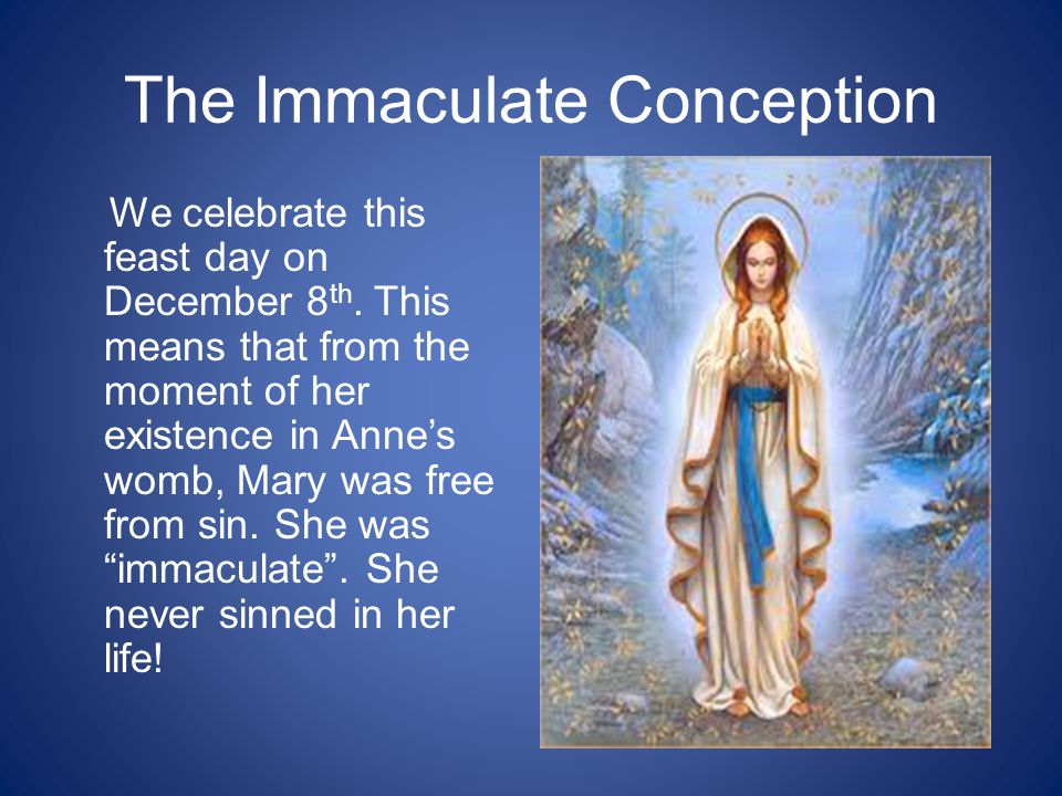 The Immaculate Conception We celebrate this feast day on December 8 th.