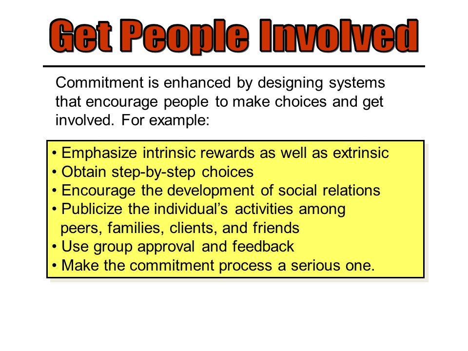 Commitment is enhanced by designing systems that encourage people to make choices and get involved.