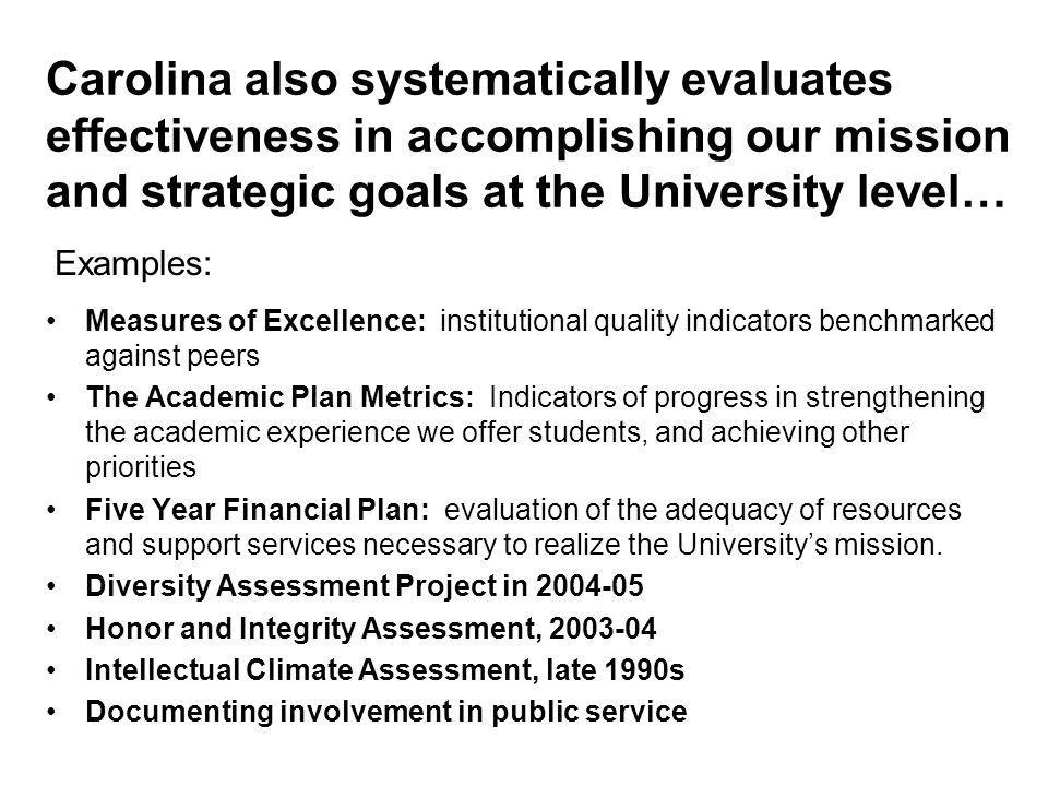 Carolina also systematically evaluates effectiveness in accomplishing our mission and strategic goals at the University level… Measures of Excellence: institutional quality indicators benchmarked against peers The Academic Plan Metrics: Indicators of progress in strengthening the academic experience we offer students, and achieving other priorities Five Year Financial Plan: evaluation of the adequacy of resources and support services necessary to realize the University's mission.
