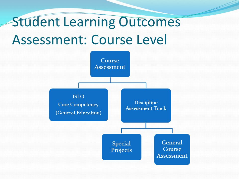 Student Learning Outcomes Assessment: Course Level Course Assessment ISLO Core Competency (General Education) Discipline Assessment Track Special Projects General Course Assessment