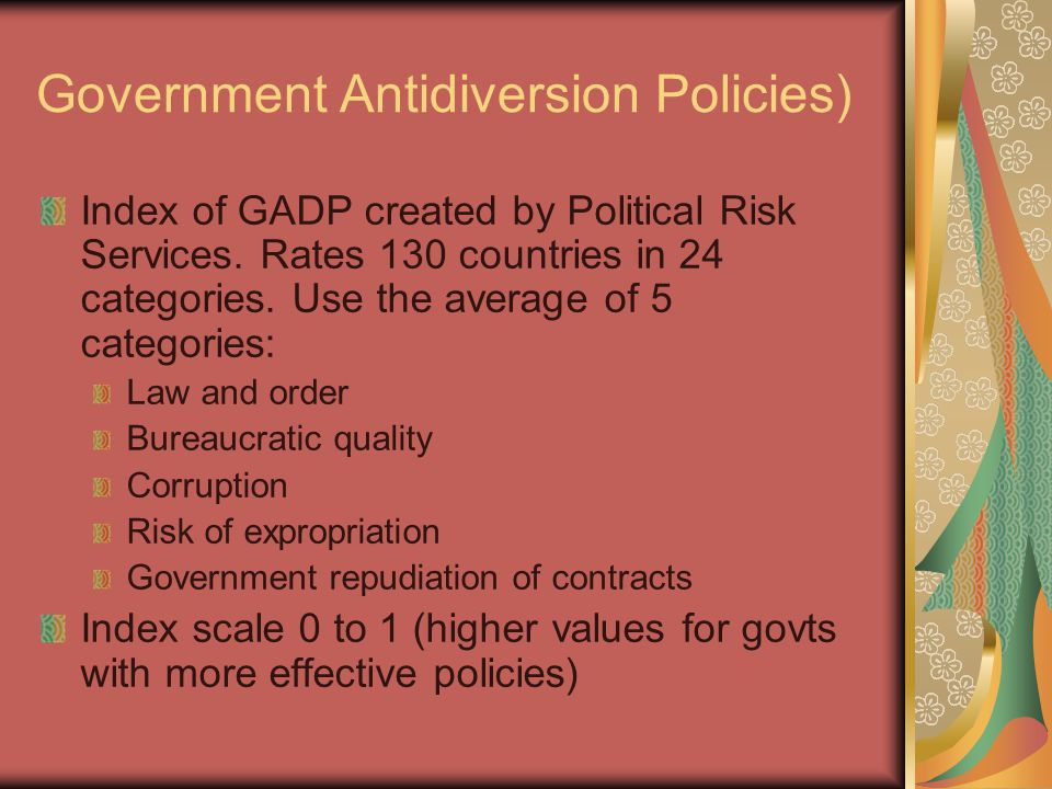 Government Antidiversion Policies) Index of GADP created by Political Risk Services.