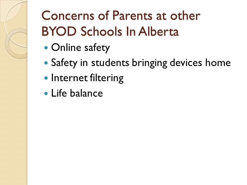 Concerns of Parents at other BYOD Schools In Alberta Online safety Safety in students bringing devices home Internet filtering Life balance