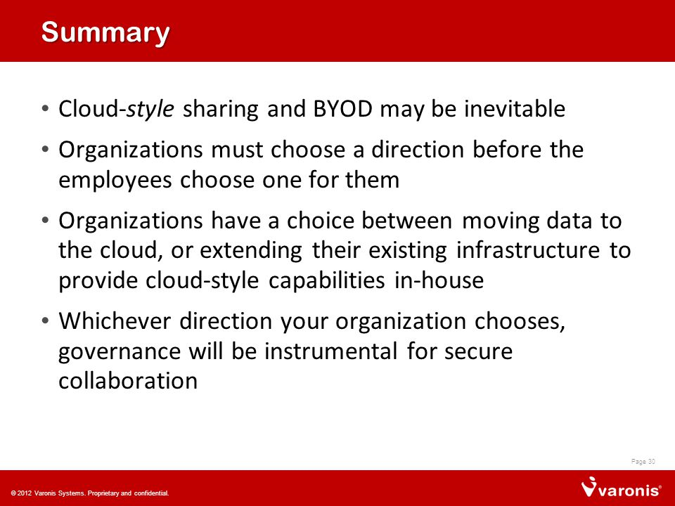 Summary Cloud-style sharing and BYOD may be inevitable Organizations must choose a direction before the employees choose one for them Organizations have a choice between moving data to the cloud, or extending their existing infrastructure to provide cloud-style capabilities in-house Whichever direction your organization chooses, governance will be instrumental for secure collaboration Page 30 © 2012 Varonis Systems.